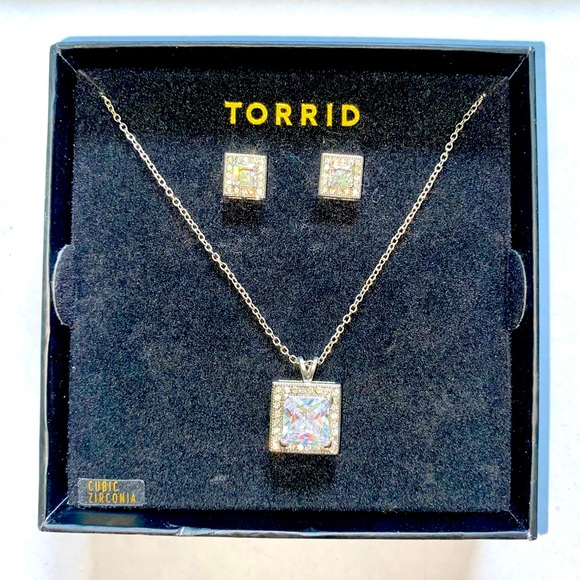 Cubic Zirconia Square Necklace and Earrings Set